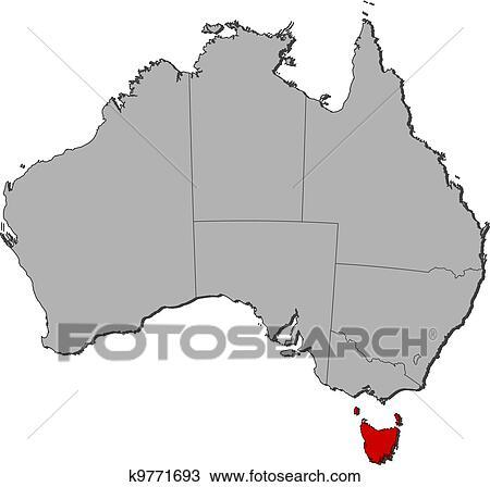 Map Of Australia And Tasmania.Map Of Australia Tasmania Highlighted Clipart K9771693 Fotosearch