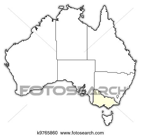 Political Map Of Victoria Australia.Map Of Australia Victoria Highlighted Clipart K9765860 Fotosearch