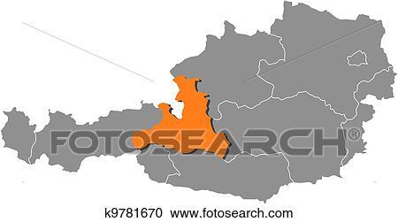 Map of Austria, Salzburg highlighted Clipart | k9781670 ...