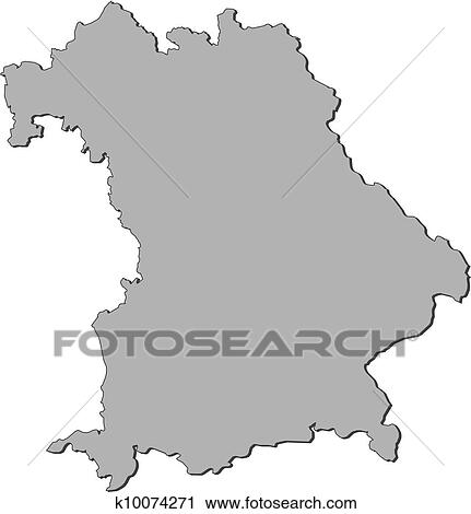Clipart Of Map Of Bavaria Germany K10074271 Search Clip Art