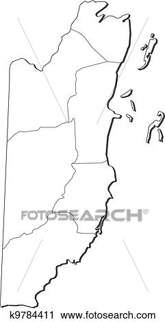 Belize Political Map.Clipart Of Map Of Belize K9784411 Search Clip Art Illustration