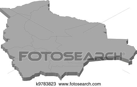 Map Of Bolivia Clipart K9783823