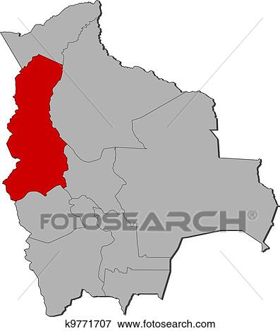 Clip Art Of Map Of Bolivia La Paz Highlighted K9771707 Search