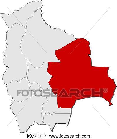 Clip Art Of Map Of Bolivia Santa Cruz Highlighted K9771717 Search