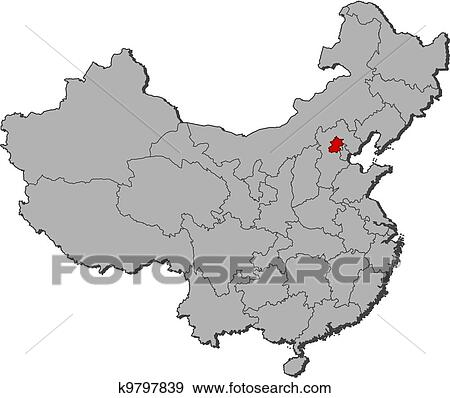 Clip Art Of Map Of China Beijing Highlighted K9797839 Search