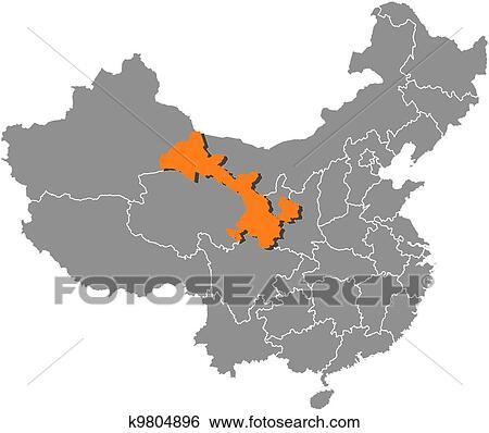 Map of China, Gansu highlighted Clip Art