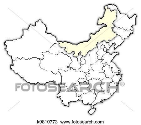 Map Of China And Mongolia.Drawing Of Map Of China Inner Mongolia Highlighted K9810773
