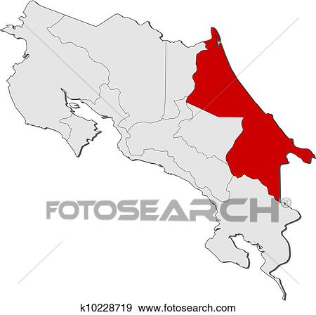 Clip art of map of costa rica limon highlighted k10228719 search political map of costa rica with the several provinces where limon is highlighted gumiabroncs Images