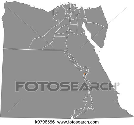Clip Art Of Map Of Egypt Luxor Highlighted K9796556 Search
