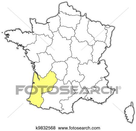 Clip Art Of Map Of France Aquitaine Highlighted K9832568 Search