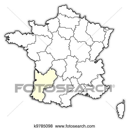 Stock Illustration Of Map Of France Aquitaine Highlighted K9785098