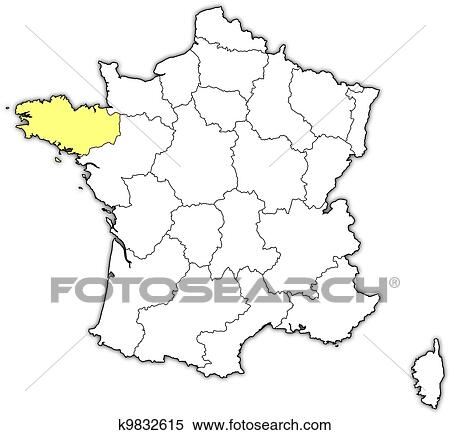 Brittany On Map Of France.Map Of France Brittany Highlighted Clipart K9832615 Fotosearch