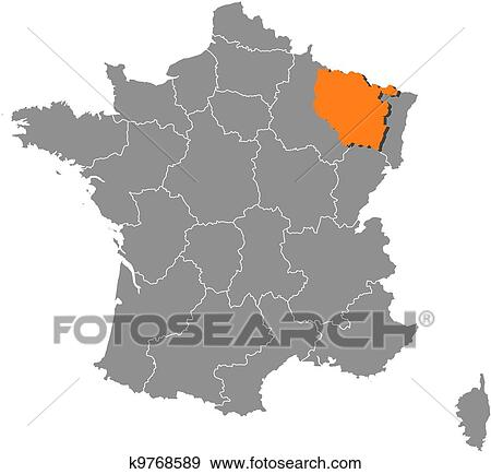 Clip Art Of Map Of France Lorraine Highlighted K9768589 Search