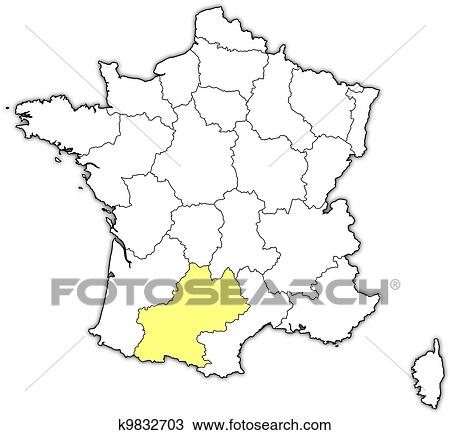 Map of France, Midi-Pyrenees highlighted Clipart Polictal Map Of France on alsace france, detailed map france, mountains in france, world map france, toulon france, beaune france, rivers in france, etretat france, tours france, orleans france, versailles france, avignon france, countries in france, cities in france, dordogne france, le mans france, biarritz france, how big is france, le havre france, languedoc france,