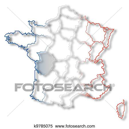 Poitou France Map.Stock Illustration Of Map Of France Poitou Charentes Highlighted