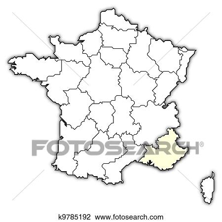 Provence Map Of France.Stock Photo Of Map Of France Provence Alpes Cote D Azur Highlighted