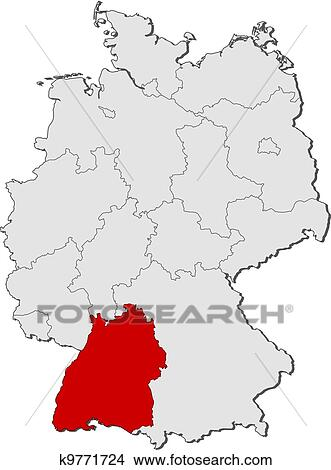 Map of Germany, Baden-Wuerttemberg highlighted Clipart