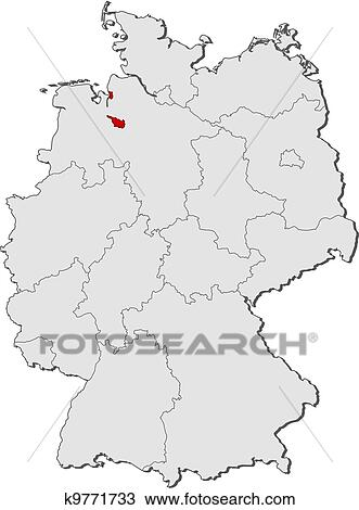 Map Of Germany Bremen Highlighted Clipart K9771733 Fotosearch