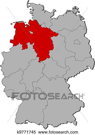 Lower Saxony Germany Map.Clipart Of Map Of Germany Lower Saxony Highlighted K9771745
