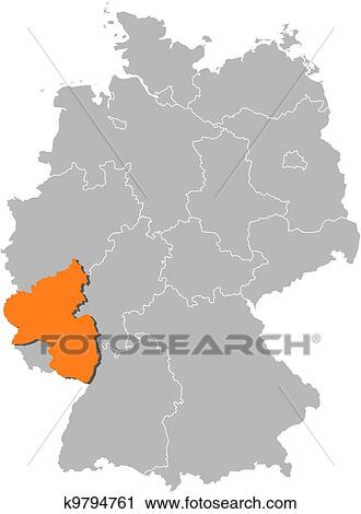 Map Of Germany Rhineland.Map Of Germany Rhineland Palatinate Highlighted Clipart