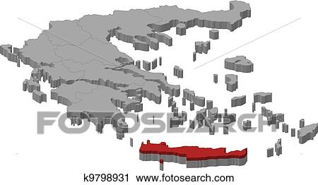 Map Of Greece Crete Highlighted Clipart K9798931 Fotosearch