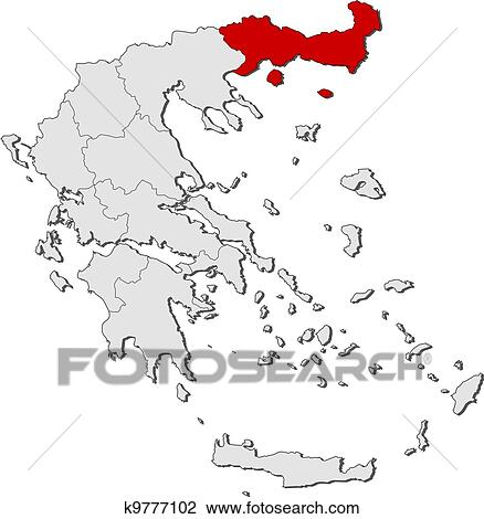 Clipart Of Map Of Greece East Macedonia And Thrace Highlighted