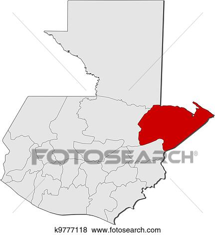 Map of Guatemala, Izabal highlighted Clip Art Departments Map Of Guatemala on map of france departments, guatemalan departments, map de guatemala, map of georgia departments, map of mexico and belize, map of colombia departments,