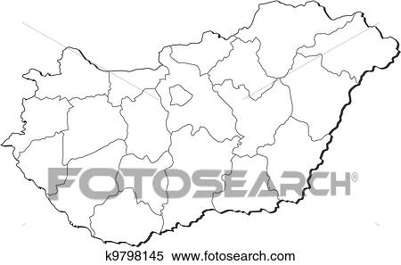 Hungary Political Map.Clipart Of Map Of Hungary K9798145 Search Clip Art Illustration