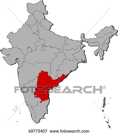 Map of India, Andhra Pradesh highlighted Clip Art k9773407