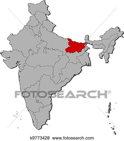 Clip art of map of india bihar highlighted k9773428 search clip art map of india bihar highlighted fotosearch search clipart illustration gumiabroncs Image collections