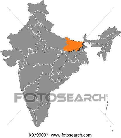 Clip art of map of india bihar highlighted k9799097 search clip art map of india bihar highlighted fotosearch search clipart illustration gumiabroncs Image collections