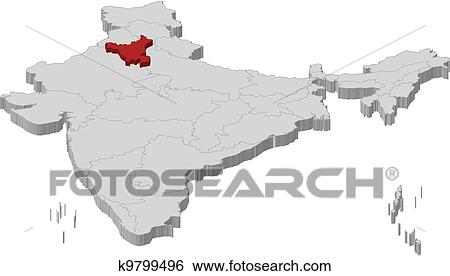 Map of India, Haryana highlighted Clip Art