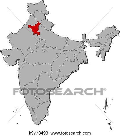 Haryana India Map.Clipart Of Map Of India Haryana Highlighted K9773493 Search Clip
