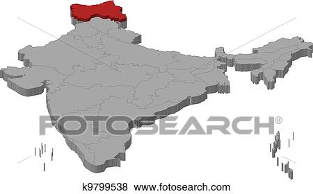 Kashmir On World Map.Clip Art Of Map Of India Jammu And Kashmir Highlighted K9799538