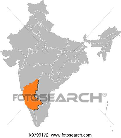 Clipart of Map of India, Karnataka highlighted k9799172 - Search ...