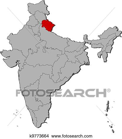 Clipart of Map of India, Uttarakhand highlighted k9773664 - Search ...