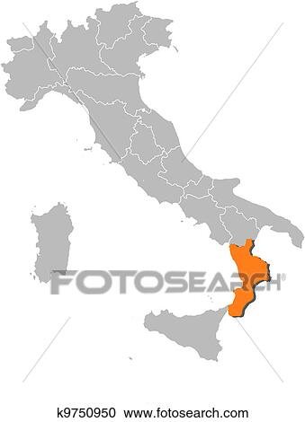 Map Of Italy Calabria Region.Clipart Of Map Of Italy Calabria Highlighted K9750950 Search Clip