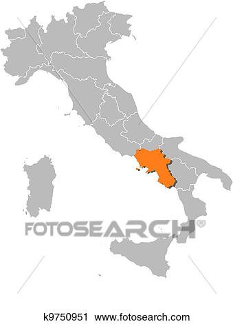Map Showing Regions Of Italy.Map Of Italy Campania Highlighted Iskarpa