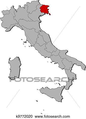 Friuli Italy Map.Clipart Of Map Of Italy Friuli Venezia Giulia Highlighted K9772020