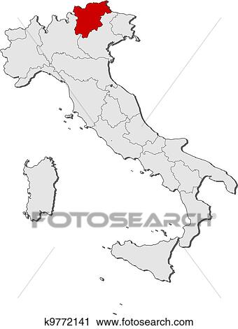 Clipart of Map of Italy TrentinoAlto AdigeSuedtirol highlighted
