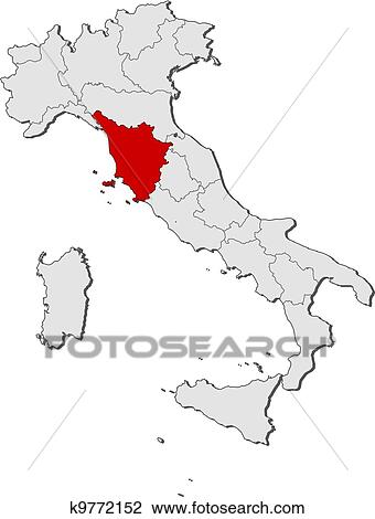Map of Italy, Tuscany highlighted Clipart