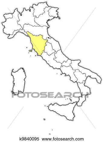 Tuscany Map Of Italy.Clipart Of Map Of Italy Tuscany Highlighted K9840095 Search Clip