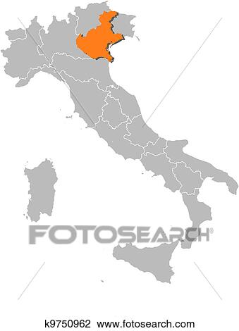 Clipart Of Map Of Italy Veneto Highlighted K9750962 Search Clip