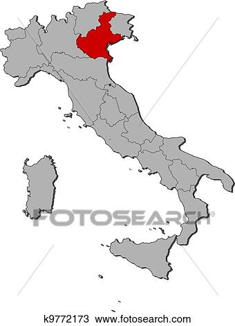 Clipart Of Map Of Italy Veneto Highlighted K9772173 Search Clip