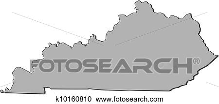 Map of Kentucky (United States) Clipart k10160810