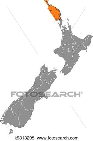 Northland New Zealand Map.Map Of New Zealand Northland Highlighted Clipart
