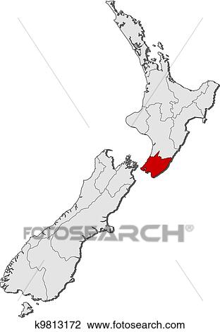 Map Wellington New Zealand.Clipart Of Map Of New Zealand Wellington Highlighted K9813172