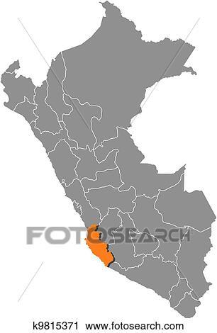 Peru Karte Umriss.Map Of Peru Ica Highlighted Clipart