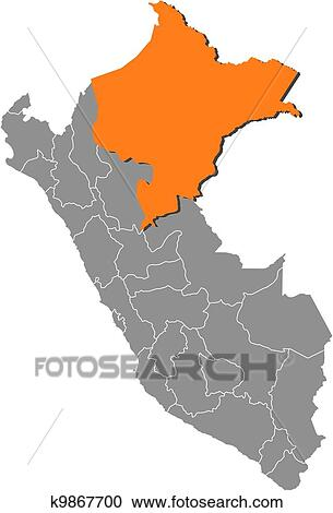 Clipart Of Map Of Peru Loreto Highlighted K9867700 Search Clip