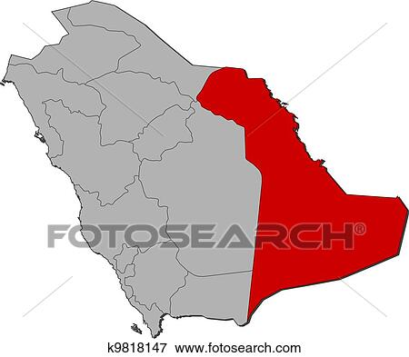 Map of Saudi Arabia, Eastern Province highlighted Clip Art ...